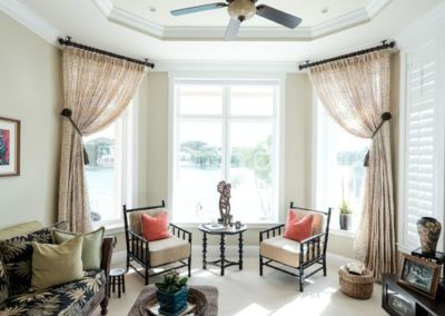 Den/Sitting Room – Stationary Drapery Panels with Tiebacks and Ceiling Mount Drapery Rods