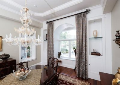 Dining Room – Stationary Drapery Panels for Arched Windows