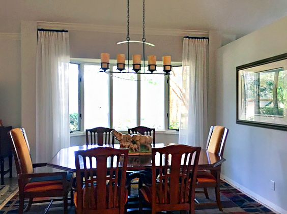 Dining Room – Stationary Drapery Panels with Silhouette Shades