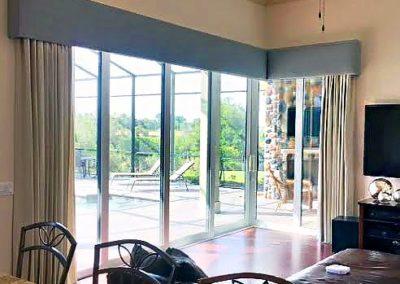 Family Room – Cornices and Stationary Drapery Panels