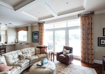 Family Room – Stationary Drapery Panels on Ceiling Mount Drapery Hardware