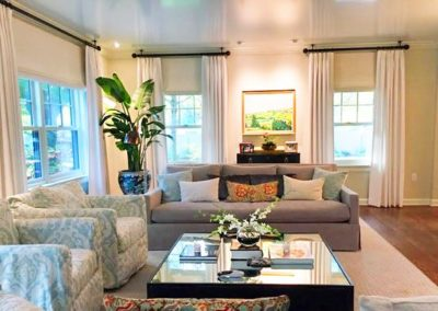 Living Room – Stationary Drapery Panels and Woven Wood Shades