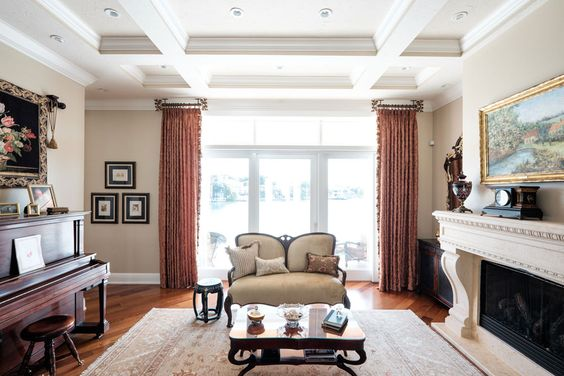 Living Room – Stationary Drapery Panels with Trim/Ceiling Mount Drapery Hardware