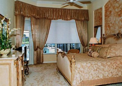 Master Bedroom – Top Treatments with Shaped, Shirred Valances, Side Panels and Duette Shades